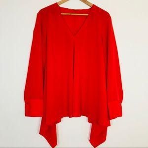 Rachel Roy Red V-neck Long Sleeve Blouse Sz 2X